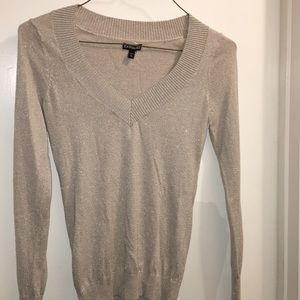 Beige and silver tight knit sweater